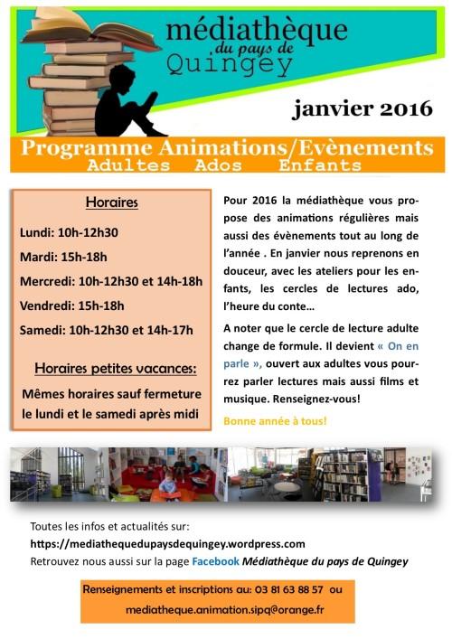 Programme Médiathèque Quingey janvier 2016p1